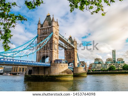 View of the famous landmark of London Tower Bridge across the Thames river in England, UK