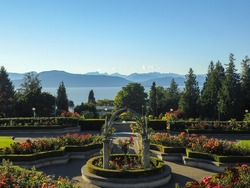 View of the famous rose garden of the university of british columbia campus facing the pacific ocean in vancouver