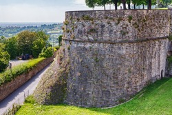 View of the famous Venetian walls in Bergamo (Citta Alta) in northern Italy. Bergamo is a city in the alpine Lombardy region.