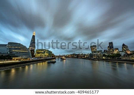View of the financial district of London, as seen from Tower Bridge #409465177