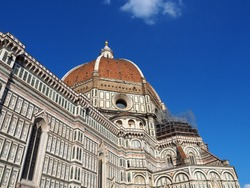 View of the Florence Cathedral (Duomo di Firenze, Cattedrale di Santa Maria del Fiore) in Florence, Italy