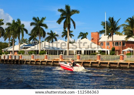 View of the Fort Lauderdale Intracoastal Waterway from a yacht