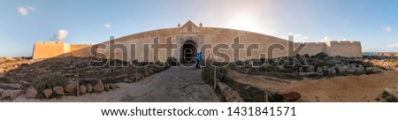 View of the fortress in Ponta de Sagres, Algarve, Portugal. The furthest point in the mediterranean coastline sea. #1431841571