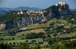 View of the Fortress of San Leo and town of the Marche regions.