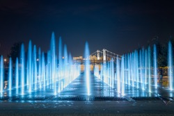 View of the fountain in the Park of arts Muzeon in Moscow at the night
