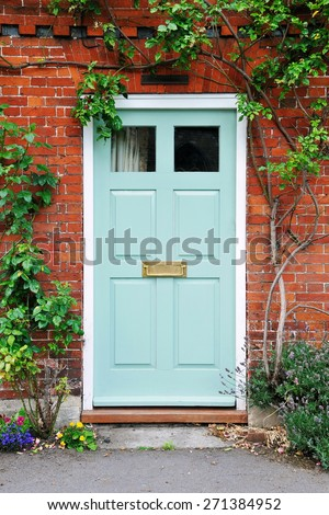 View of the Front Door of an Attractive Old Red Brick London Town House