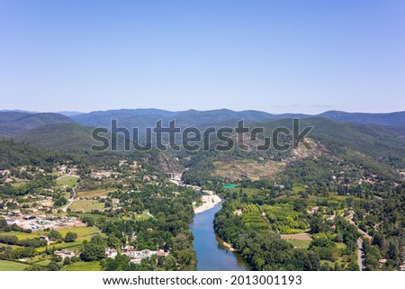 View of the Gardon valley and the Cévennes from the top of Rocher Saint-Julien, behind the town of Anduze (Occitanie, France) Photo stock ©
