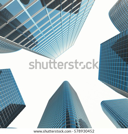 View of the glass building, high-rise building, skyscraper, commercial modern city of future. Economic and financial concept, 3d rendering