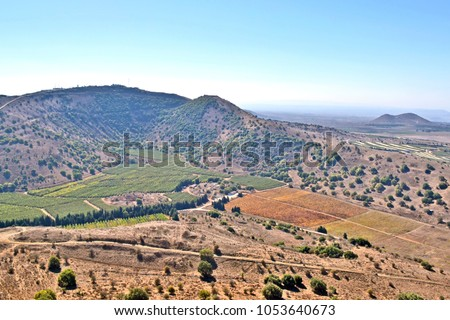 View of the Golan heights from mount Bental, Israel.