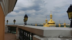 View of the golden domes from the big bell tower of the Kiev-Pechersk Lavra
