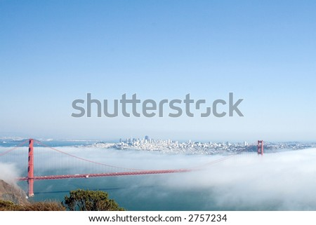 View of the Golden Gate Bridge hidden in clouds