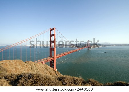 View of the Golden Gate Bridge, San Diego, San Francisco Bay - stock photo
