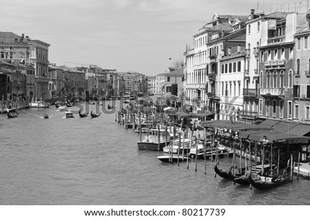 View of the Grand Canal is a canal in Venice, Italy. It forms one of the major water-traffic corridors in the city. Public transport is provided by water buses and private water taxis,