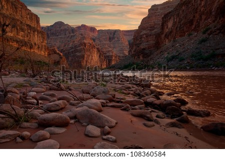 View of the Grand Canyon from a campsite on the Colorado River.