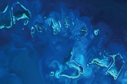 View of the Great Barrier Reef in Australia from space - Elements of this image furnished by ESA/Copernicus