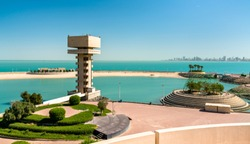 View of the Green Island in Kuwait, the first artificial island in the Persian Gulf region