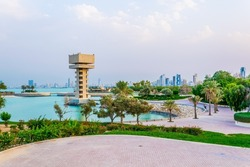 View of the Green island park built on reclaimed land in Kuwait.