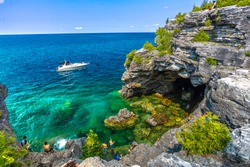 View of the grotto caves in Bruce Peninsula Ontario Canada