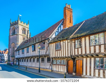 View of the Guildhall in Stratford upon Avon, England