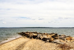 View of the harbor, beach and rocky headland in East Greenwich, Rhode Island