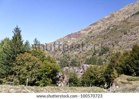 View of the High Pyrenees Mountains in France
