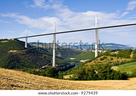 View of the highest bridge in the world (Millau, France)