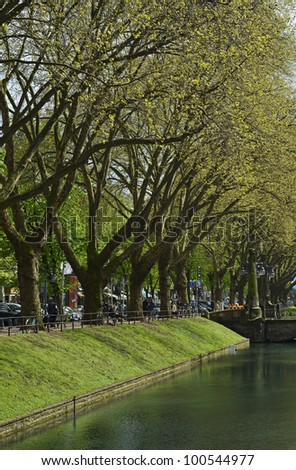 "View of the historic alley ""K�¶nigsallee"" of Dusseldorf in Germany in the springtime"