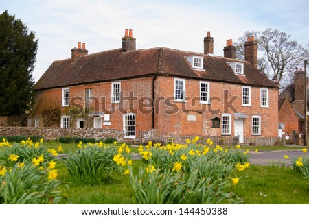 Photo of  View of the historic home of author Jane Austen (1775-1817) in Chawton, Hampshire.  The Georgian house is now open to the public.