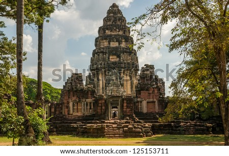 View of the historic Phimai Temple near Nakhon Ratchasima. The Khmer temples were built during the Angkor period and marked the northern reaches of the realm. - stock photo