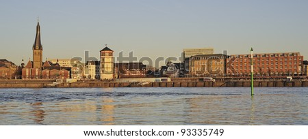 View of the historic town of Dusseldorf in Germany at sunset