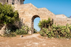 View of the historical fortification tower - Torre Colimena in village Manduria, province of Taranto, Puglia, Italy
