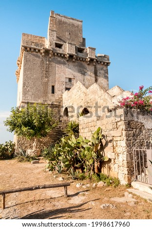 View of the historical fortification tower - Torre Colimena in village Manduria, province of Taranto, Puglia, Italy Photo stock ©