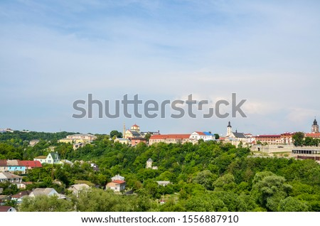View of the historical part of the old town from the fortress. Ancient City of Kamyanets-Podilsky Located in the Western Ukraine the historic capital region of Podillya
