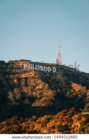 View of the Hollywood Sign from Lake Hollywood Park, in Los Angeles, California #1494512483