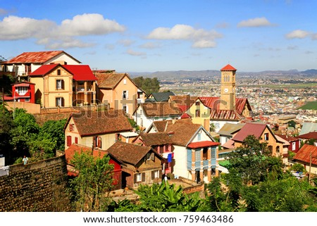 View of the houses, churches and trees of Antananarivo, Madagascar.
