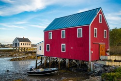 View of the houses in Cape Porpoise, Maine, United States