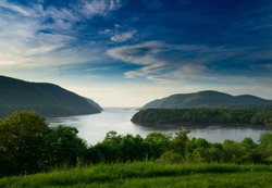 View of the Hudson River Valley from Trophy Point at West Point, NY.