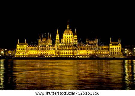 View of the Hungarian Parliament and its refflection on the Danube at night, Budapest, Hungary