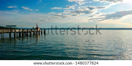 """View of the idyllic lake """"Ammersee"""" near Munich in Bavaria before sunset #1480377824"""