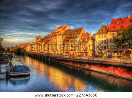 View of the Ill river in Strasbourg - Alsace, France