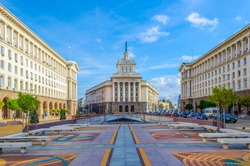 View of the independence square dominated by national assembly building â?? former headquarters of the bulgarian communist party â?? in Sofia, Bulgaria