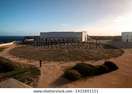View of the inside in the fortress of Ponta de Sagres, Algarve, Portugal. The furthest point in the mediterranean coastline sea. #1431841511