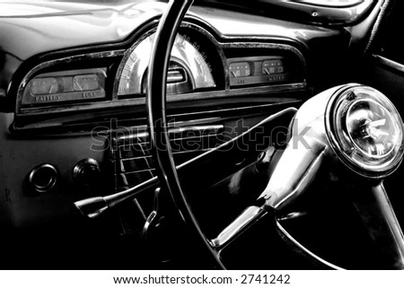 View of the interior of an old vintage car	 - stock photo