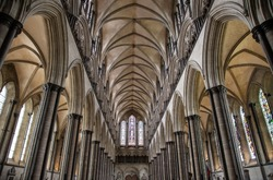 View of the interior of the central nave of Salisbury Cathedral, a magnificent example of the early English Gothic style. England
