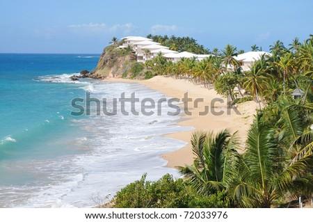 View of the island Antigua, beach