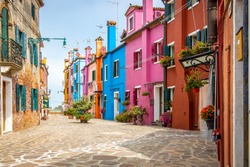 View of the island of Burano in Venice lagoon, Italy