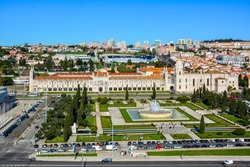 View of the Jeronimos Monastery in the Belem district of Lisbon, Portugal, from the top of Monument of the Discoveries. The monastery today houses Maritime Museum and National Archaeology Museum