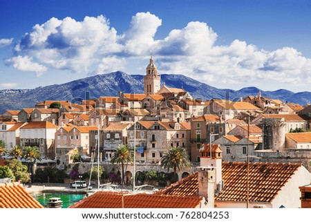 view of the korcula town ...