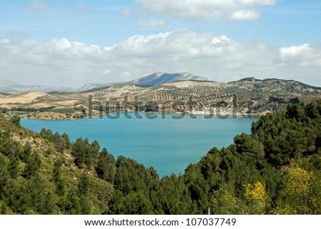 View of the lake and surrounding countryside (Embalse del Guadalhorce), near Ardales, Malaga Province, Andalucia, Spain, Western Europe.