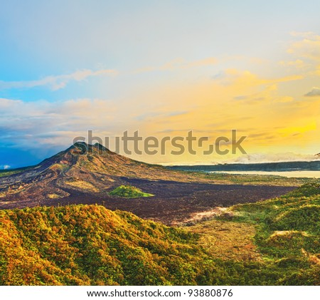 View of the lake and violcano Batur. Bali